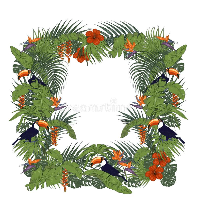 Toucan and tropical plants, frame vector illustration