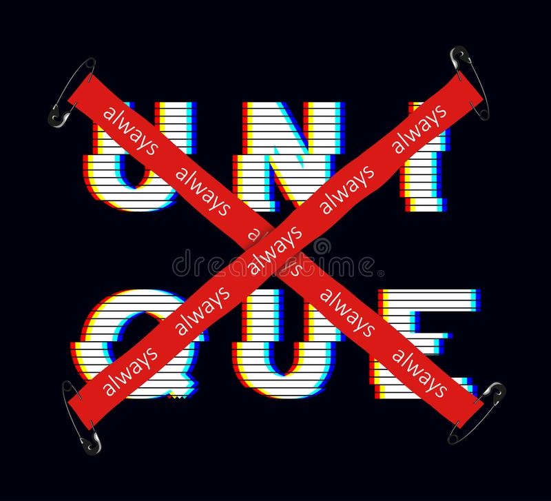 Unique slogan with glitch effect with safety pin and red crossed tape for t-shirt print. Typography graphics for t shirt stock illustration