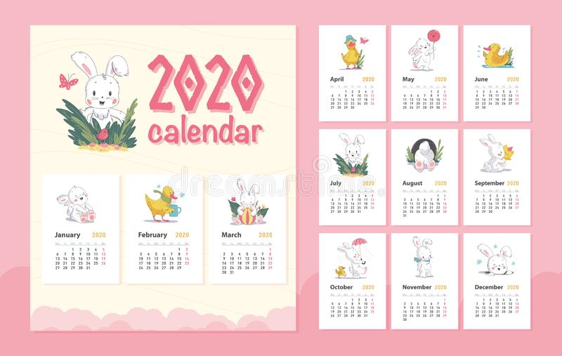 Vector 2020 baby calendar design template with cute white bunny animal character & little yellow duck walk, stand, sit. royalty free stock images