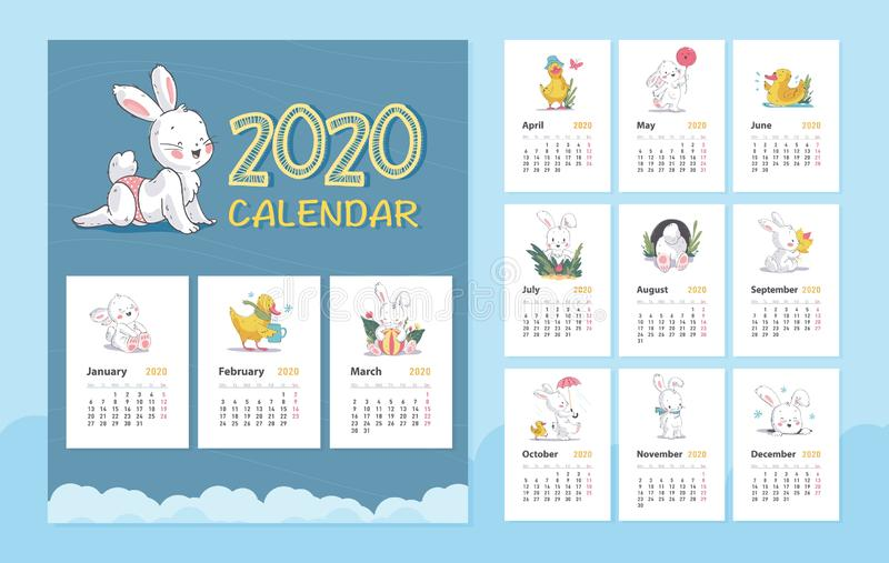 Vector 2020 baby calendar design template with cute white bunny animal character & little yellow duck walk, stand, sit. stock illustration