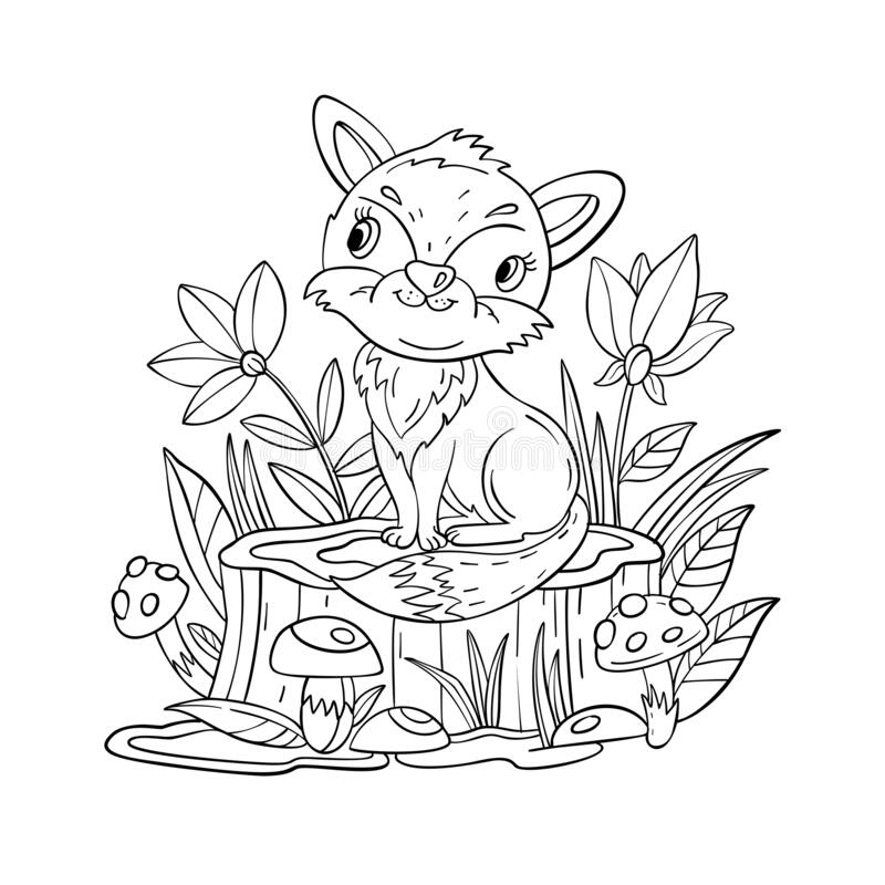 Wood Animals Coloring Page For Kids Hedgehog In Forest Stock ... | 800x800