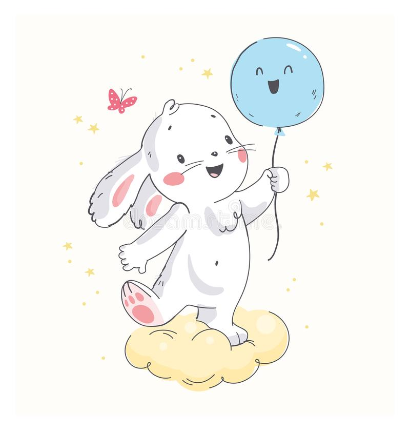 Vector flat illustration of cute little white baby bunny character with air balloon standing isolated. Hand drawn style. For baby calendar, baby shower royalty free illustration
