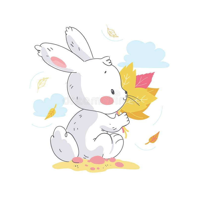 Vector flat illustration of cute little white baby bunny character with autumn leaves bouquet sitting. Hand drawn style. For baby calendar, baby shower stock illustration