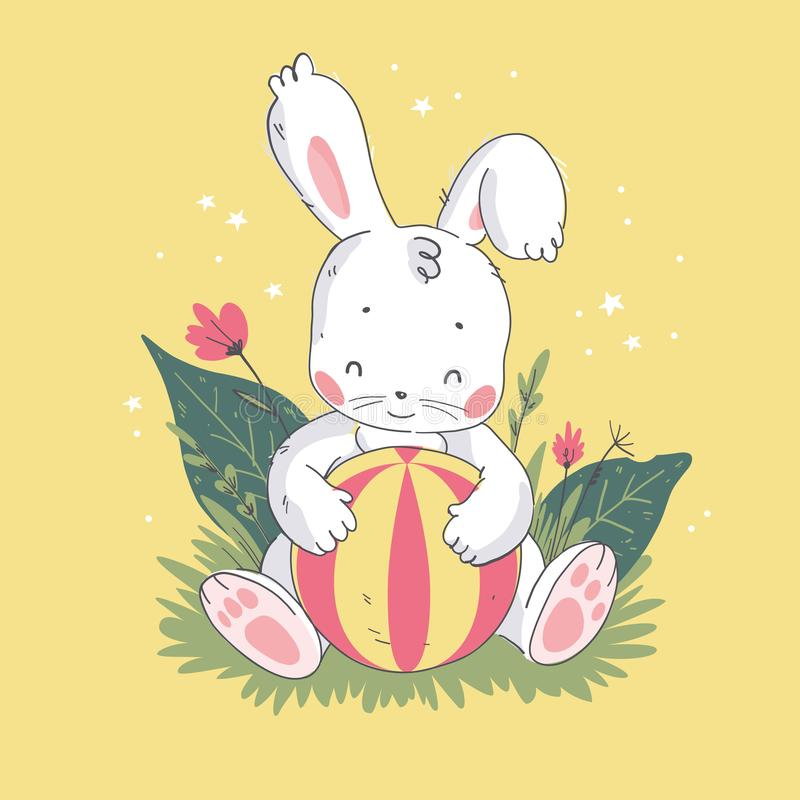 Vector flat illustration of cute little white baby bunny character with playing ball sitting on grass. vector illustration