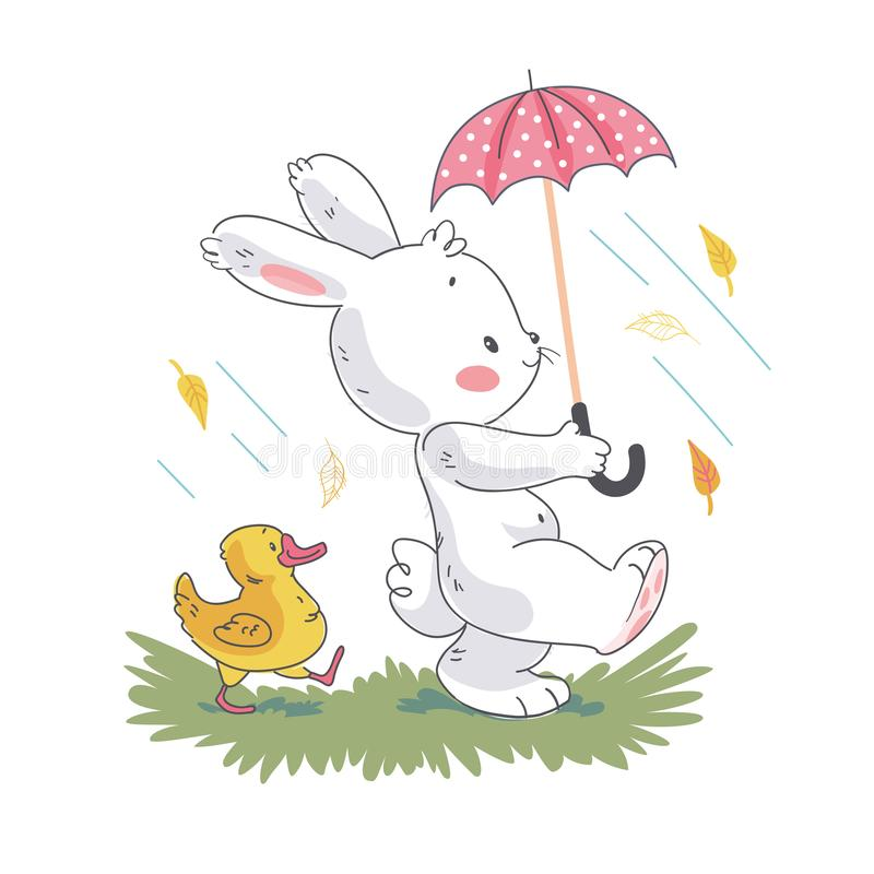 Vector flat illustration of cute white baby bunny character and little duck walking under umbrella. Hand drawn style. royalty free illustration