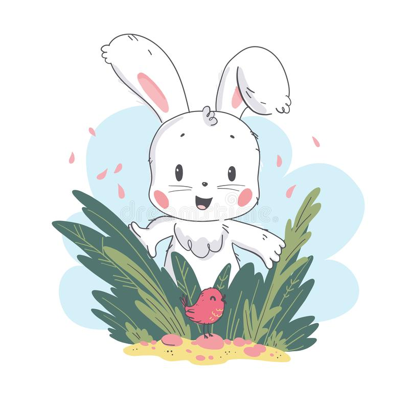 Vector flat illustration of cute white baby bunny character and little small bird playing in grass. Hand drawn style. For baby calendar, baby shower, birthday royalty free illustration