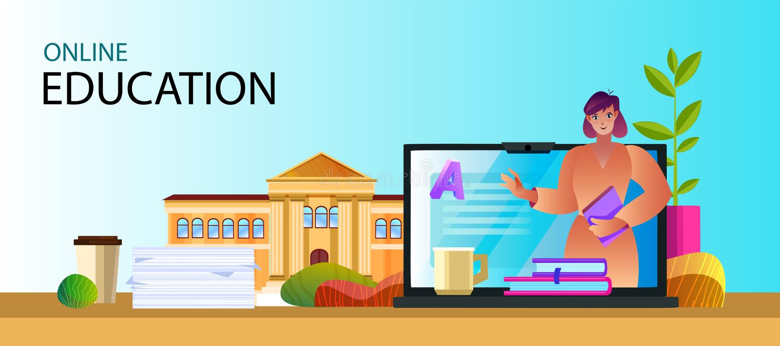 Vector flat illustration with friendly teacher, laptop, university building, books, papers. royalty free stock images