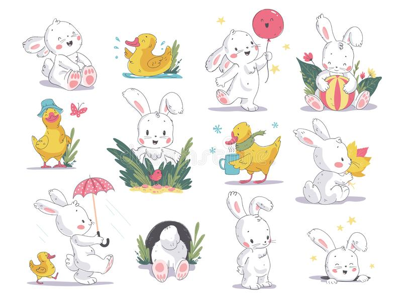 Vector hand drawn illustration set with cute white bunny and yellow little duck isolated on white background. vector illustration