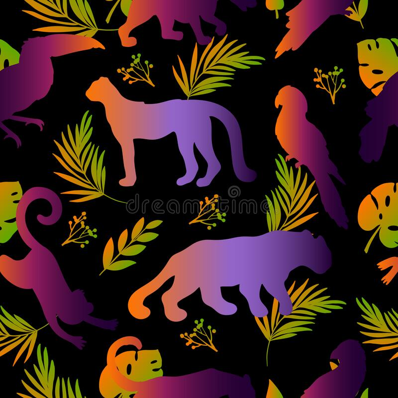 Vector seamless pattern with tropical animals, birds and leaves. stock image