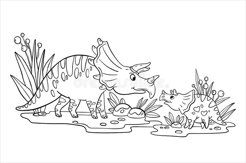 Vector Stock Coloring Page With Cute Family Of Dinosaurs Stock Vector Illustration Of Kids Fantasy 178870201