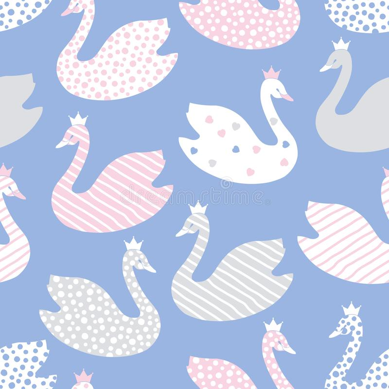Cute cartoon stylized swans. Seamless color vector pattern. royalty free illustration