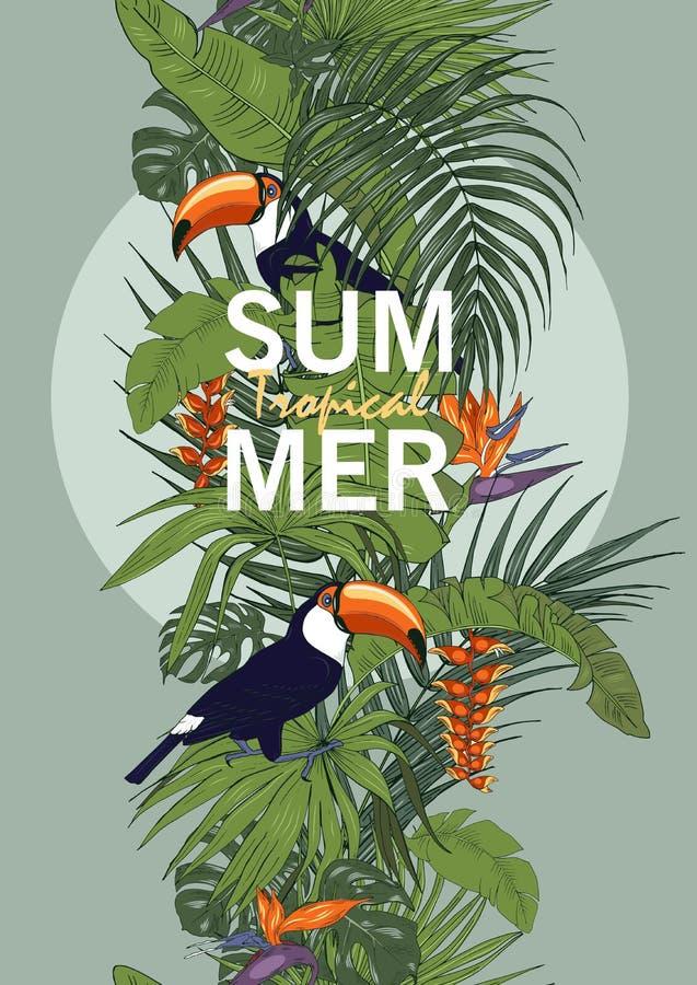 ??????Toucan et plantes tropicales, calibre pour des cartes illustration stock
