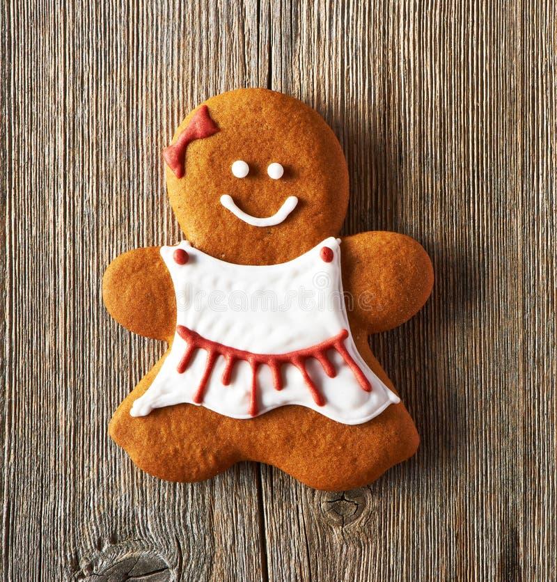 Печенье девушки пряника рождества домодельное стоковое изображение