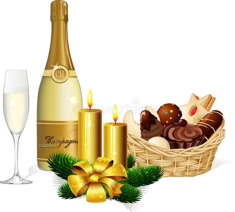 Печенье и шампанское рождества иллюстрация вектора