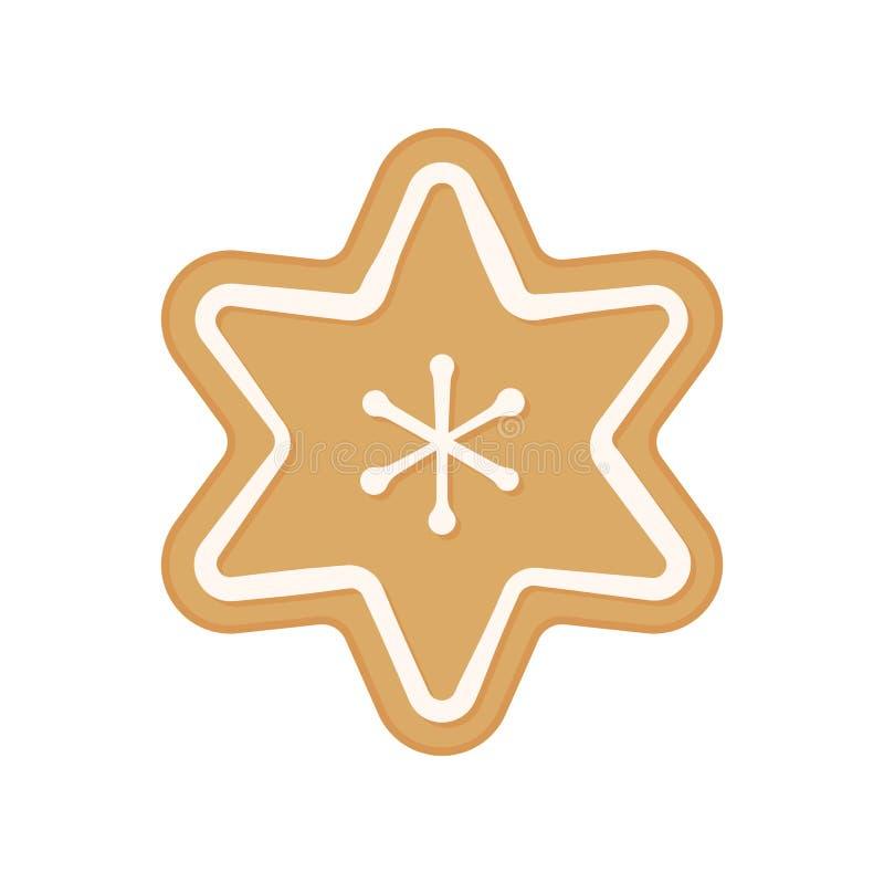 Печенье рождества - вектор Печенье пряника звезда Изолированное печенье снежинки иллюстрация вектора