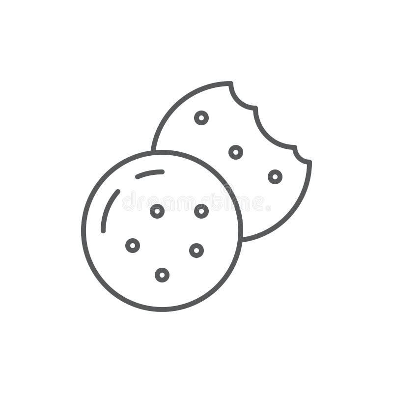 Печенье с линией значком обломоков шоколада editable - иллюстрация вектора пиксела хлебопекарни или кондитерскаи совершенная стоковое изображение