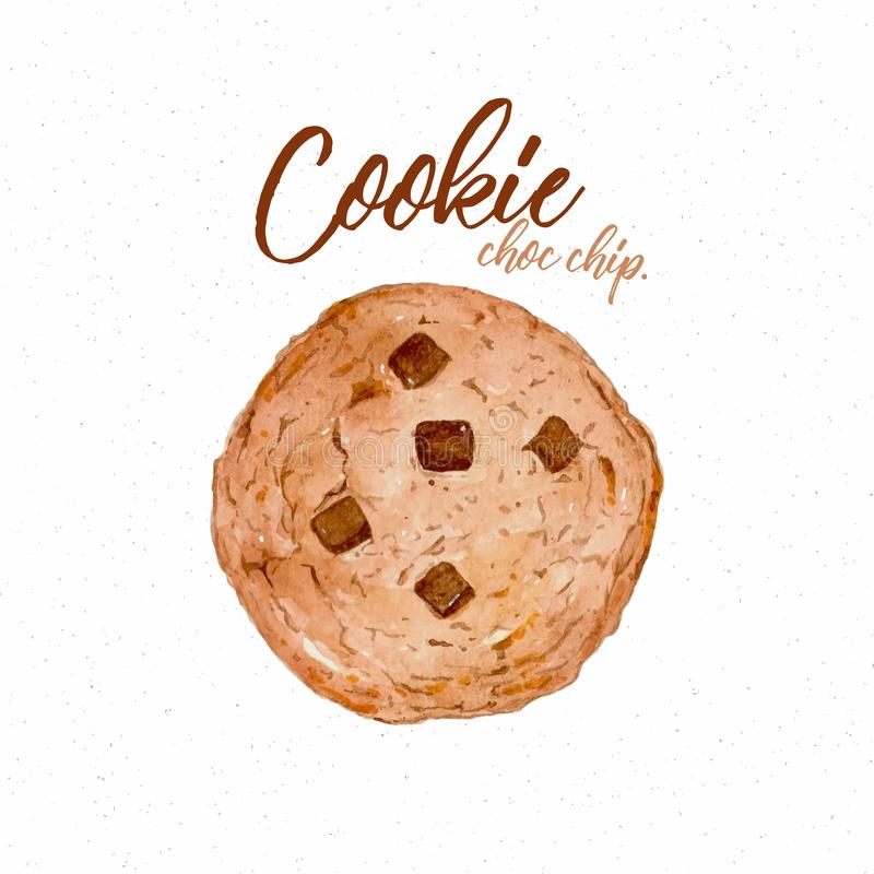 Печенье, цвет воды эскиза притяжки руки иллюстрация вектора