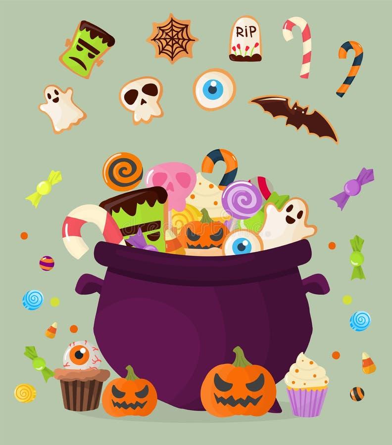 Печенья желейных бобов леденцов на палочке пирожных помадок котла партии хеллоуина красочные испекут иллюстрацию вектора конфет бесплатная иллюстрация