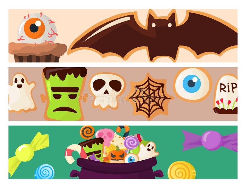Печенья карточек брошюры пирожных помадок партии хеллоуина красочные испекут иллюстрацию вектора конфет иллюстрация штока
