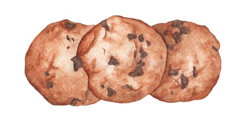 Печенья обломока шоколада Иллюстрация еды акварели руки вычерченная бесплатная иллюстрация