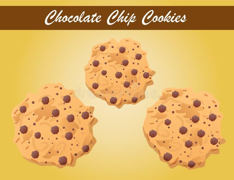 Печенья обломока шоколада вектор, вектор печенья, хлебопекарня бесплатная иллюстрация