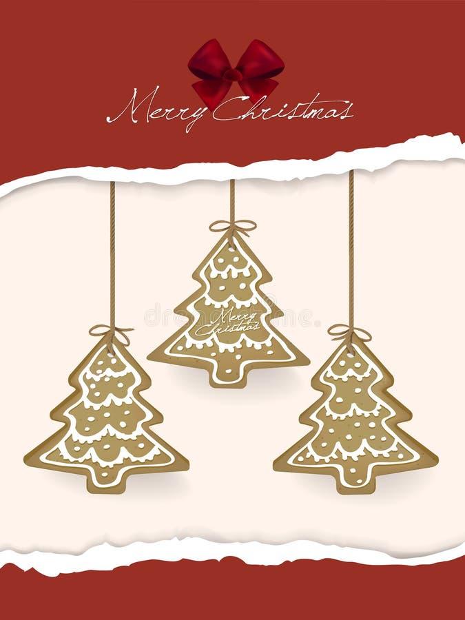 Печенья пряника вися над рождественской открыткой бесплатная иллюстрация