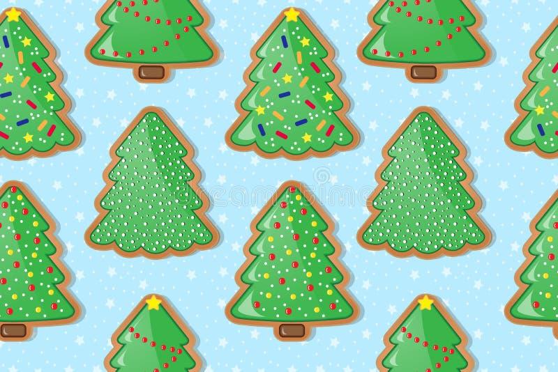Download Печенья пряника в форме рождественских елок вектор предпосылки безшовный Иллюстрация вектора - иллюстрации насчитывающей evergreen, балансера: 81800208
