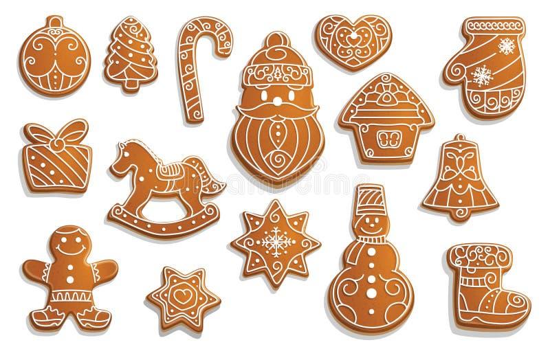 Печенья пряника, еда праздника рождества иллюстрация вектора