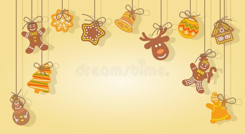 Печенья пряника рождества вися на веревочках vector предпосылка бесплатная иллюстрация