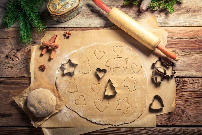 Печенья пряника рождества вырезывания стоковое фото rf