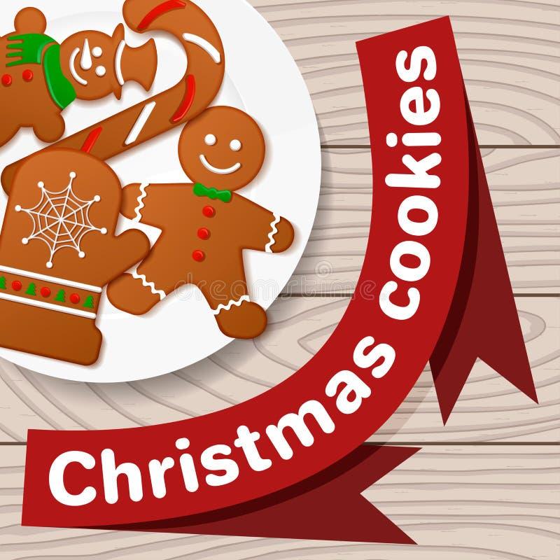 Печенья рождества, декоративный комплект для дизайна на белой плите иллюстрация штока