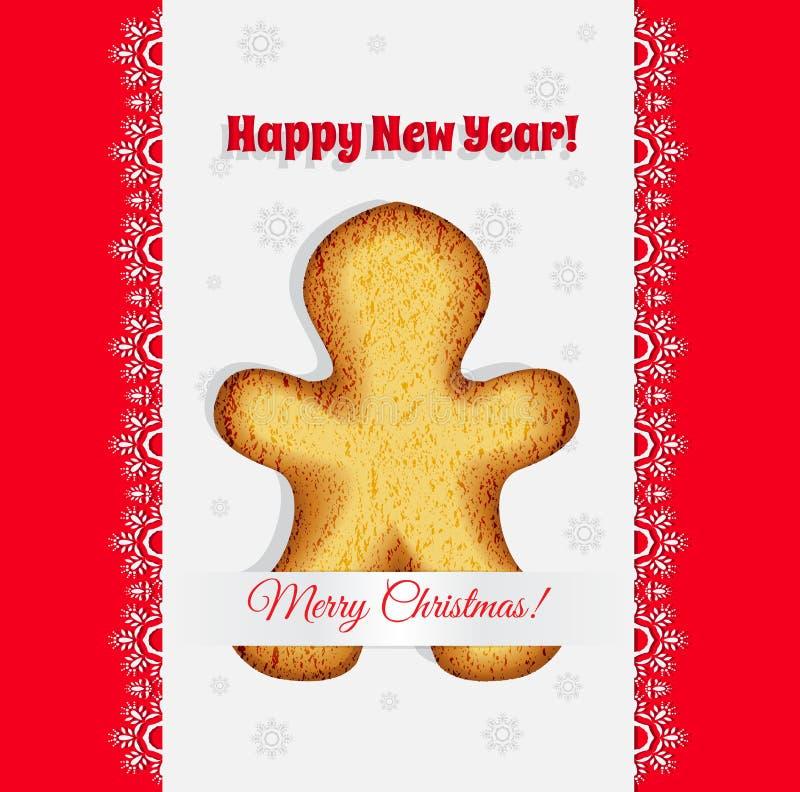 Печенья рождества в форме вектора человека пряника иллюстрация штока