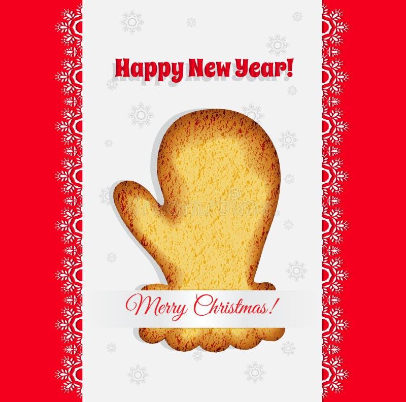 Печенья рождества в форме вектора mitten бесплатная иллюстрация
