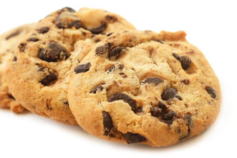 Печенья с крупным планом обломоков шоколада стоковые фотографии rf