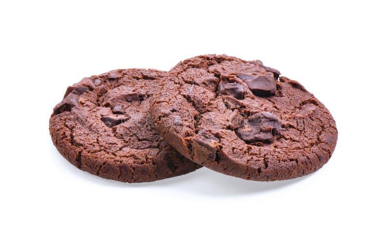 Печенья темного шоколада мягкие изолированные на белой предпосылке стоковые фотографии rf