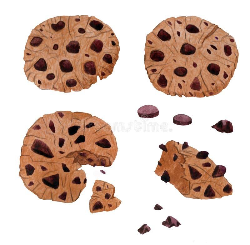 Печенья шоколада акварели руки drowing домодельные иллюстрация штока