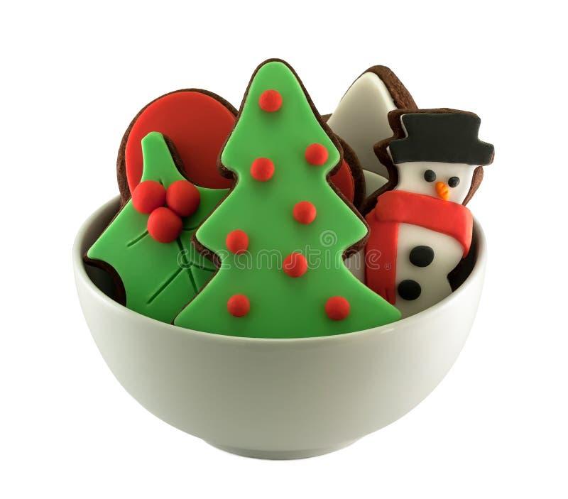 Печенья шоколада рождества изолированные на белизне стоковые изображения rf