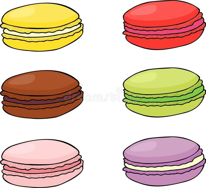 Печенья Macaroon Сладостный и вкусный шаблон растра для варить и меню ресторана иллюстрация штока