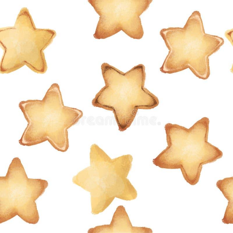 Печенья Shortbread в форме звезд Сладостные печенья картина безшовная вкусно белизна изолированная предпосылкой бесплатная иллюстрация