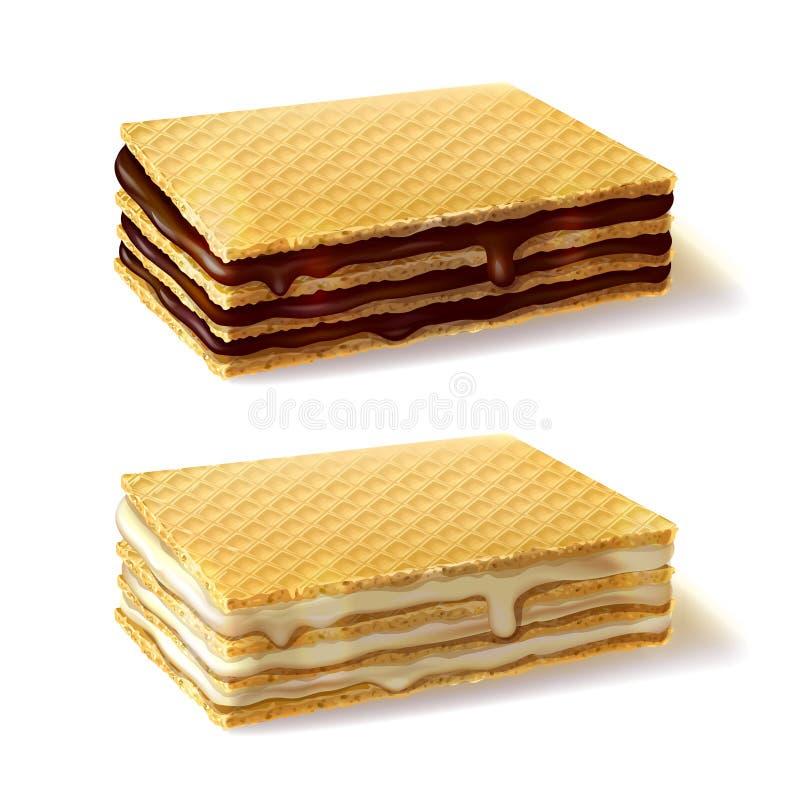 Печенья Waffle при сливк заполняя реалистический вектор иллюстрация штока