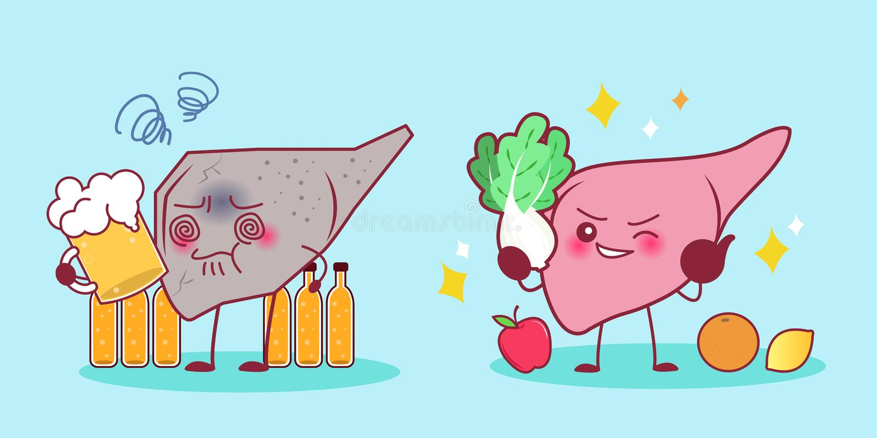 Печень с проблемой здоровья иллюстрация штока