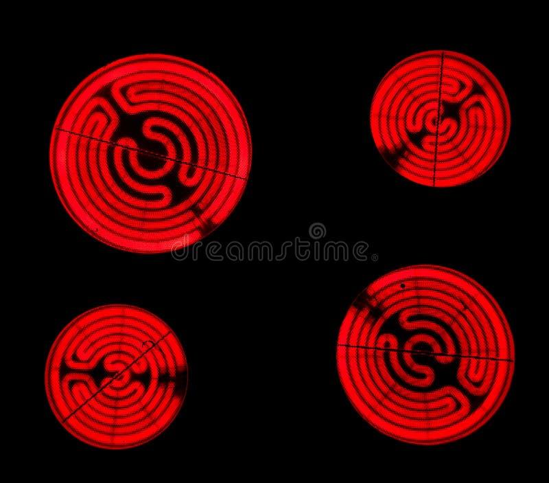 печки керамического плитаа электрические горячие красные стоковые фотографии rf