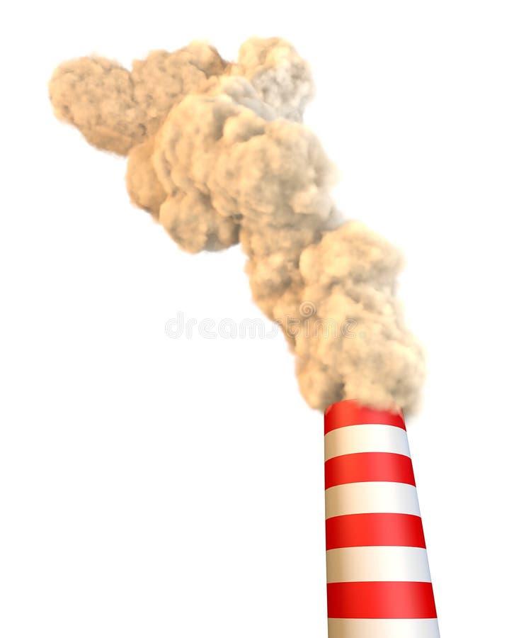 Печная труба с дымом, загрязнением иллюстрация штока