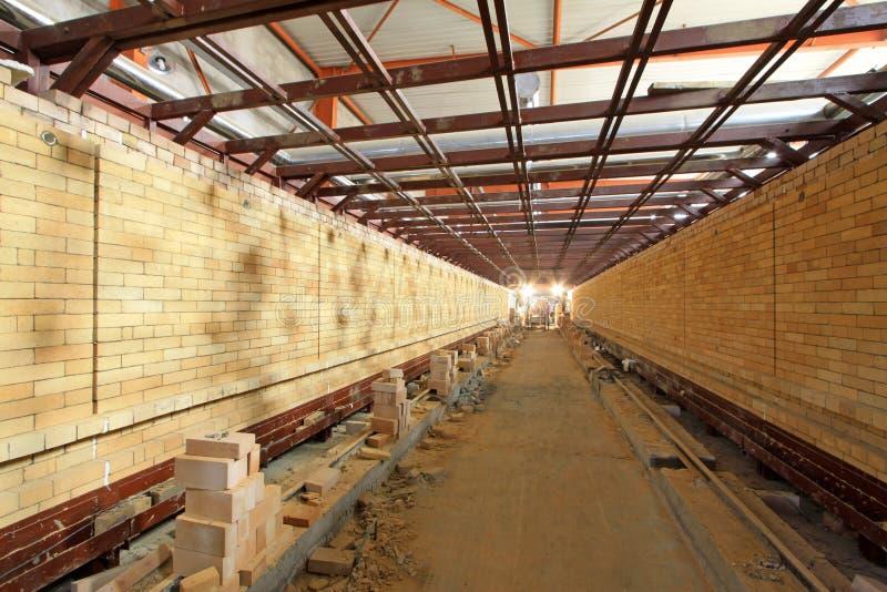 Печь тоннеля керамики здоровья строя внутреннюю структуру стоковые фото