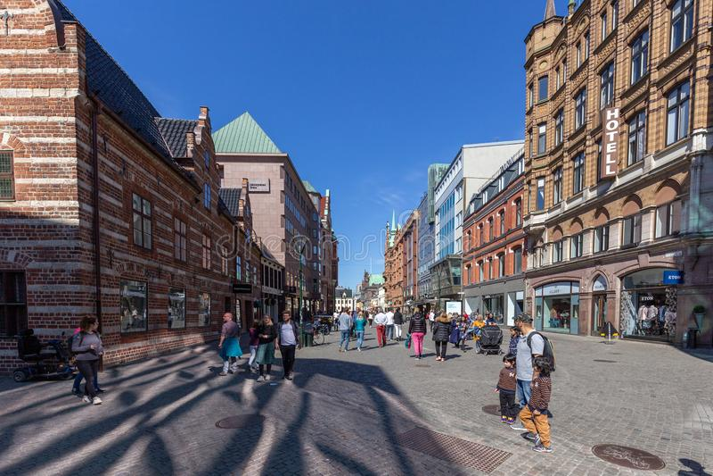 Пешеходная зона в центре города Malmo стоковое изображение rf