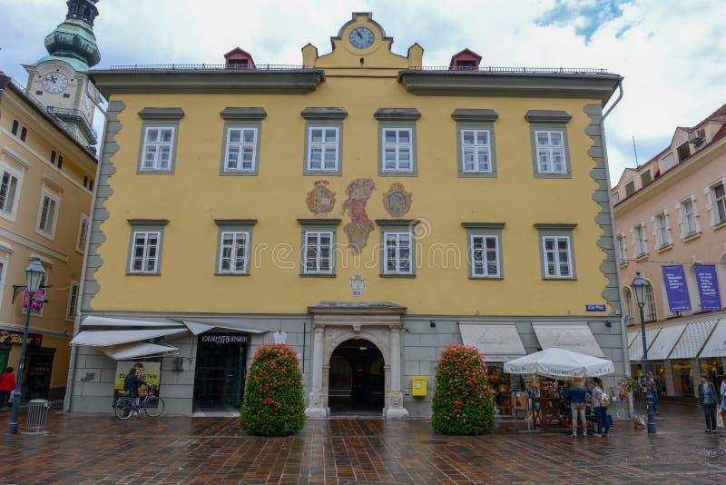 Пешеходная улица Клагенфурта в Carinthia на Австрии стоковое фото rf