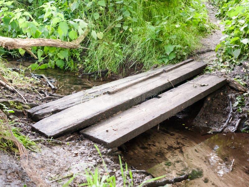 Пешеходный мост деревянного реки пола леса пробелов 3 идущий стоковое фото