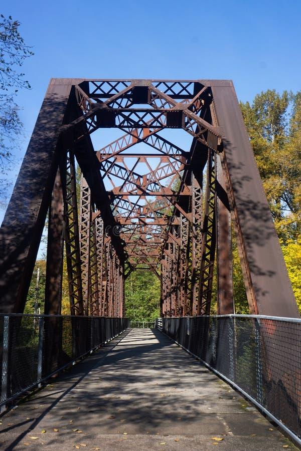 Пешеходный мост козл над рекой Snoqualmie стоковая фотография rf