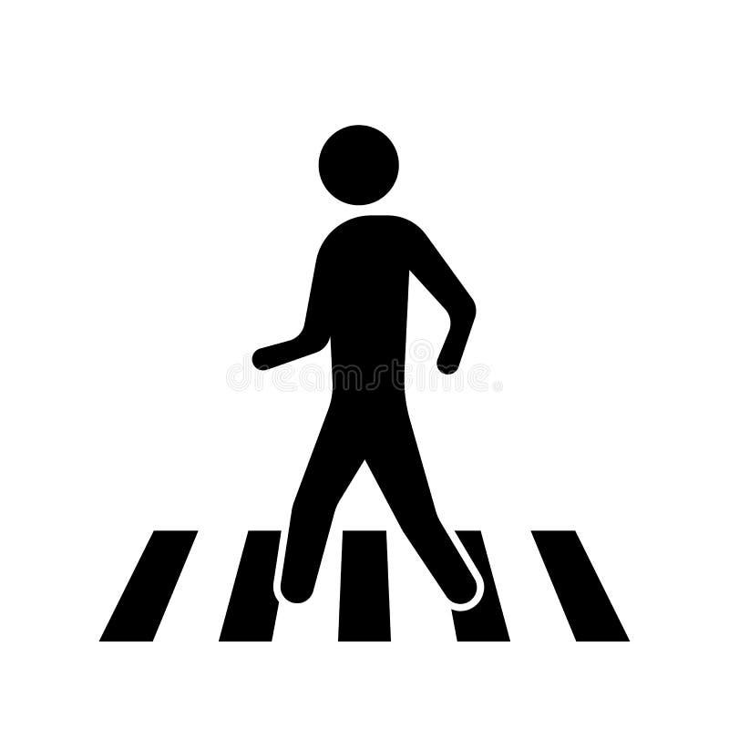 Пешеходный переход знака изолированного на белой предпосылке также вектор иллюстрации притяжки corel бесплатная иллюстрация