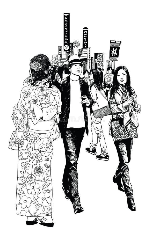 Пешеходы в улице Токио иллюстрация вектора